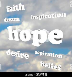 Worte der Hoffnung im Himmel glauben inspirieren Bestrebungen - Stockfoto