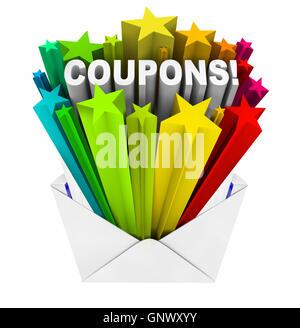 Gutscheine in Umschlag zu sparen, wenn Sie kaufen und bezahlen weniger - Stockfoto