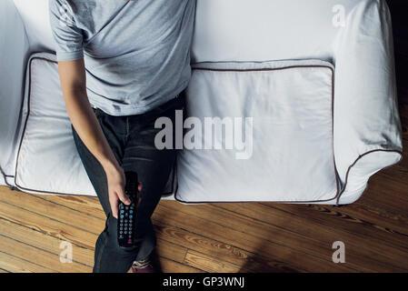 Mann vor dem Fernseher, Kanal - Stockfoto