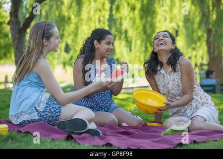 Hispanic Familienglück mit einem Picknick im park - Stockfoto