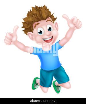 Ein glückliches Cartoon junge Kind springen vor Freude und zwei Daumen aufgeben. - Stockfoto