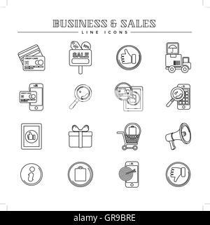 Business und Vertrieb, Zeile Icons set Stockfoto