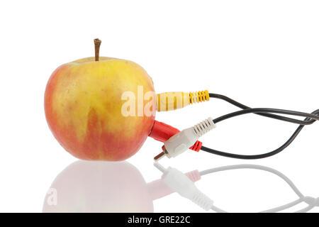 Audio-video-Kabel auf apple - Stockfoto