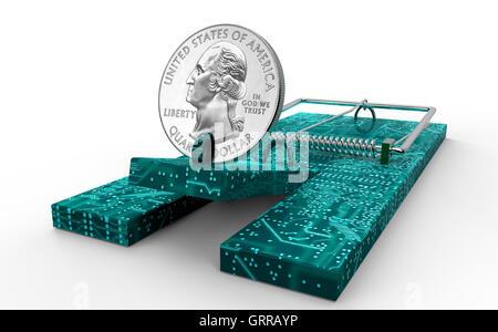 Mausefalle mit Dollar-Münze als Köder isoliert, 3d illustration - Stockfoto