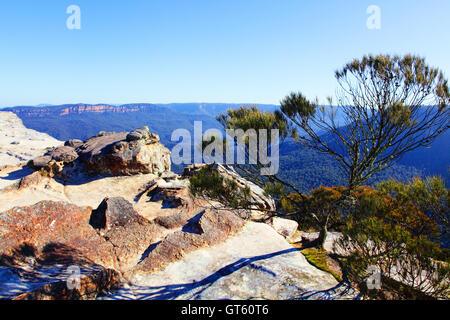 Blick vom Flat Rock Kings Tableland Wentworth Falls Blue Mountai - Stockfoto