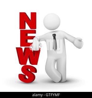 3D Geschäftsmann präsentiert Konzept Wort Nachrichten isoliert weißen Hintergrund - Stockfoto