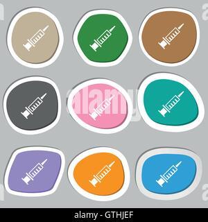 Spritze Symbol Symbole. Bunte Papier Sticker. Vektor - Stockfoto