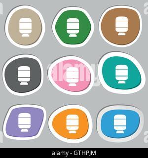 Medikamente-Symbol Symbole. Bunte Papier Sticker. Vektor - Stockfoto