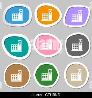 Krankenhaus-Symbol Symbole. Bunte Papier Sticker. Vektor - Stockfoto
