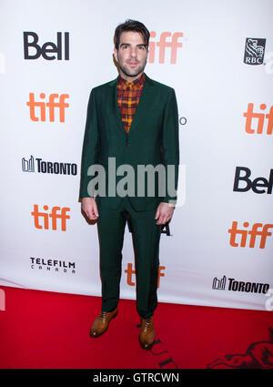Toronto, Kanada. 9. September 2016. Schauspieler Zachary Quinto posiert für Fotos vor der Weltpremiere des Films - Stockfoto