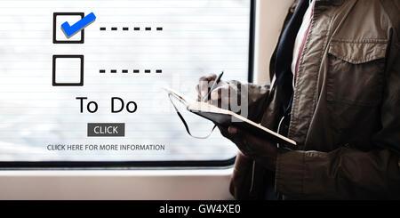 Checkliste Auswahl Evaluationskonzept überwachen zu tun - Stockfoto