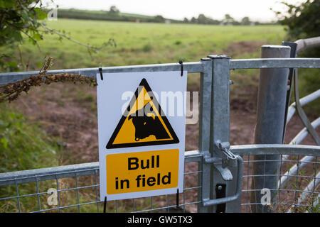 Ein Schild am Tor Warnung eines Stiers in einem Feld - Stockfoto