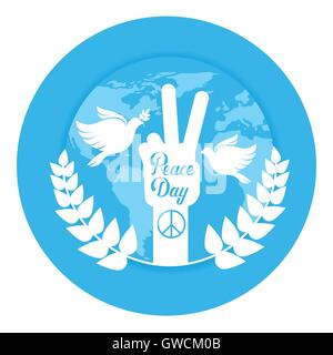 Hand-Gruppe Friedenszeichen Welt internationale Urlaub Poster - Stockfoto