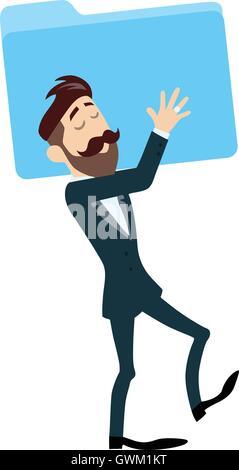 Erfolgreicher Geschäftsmann mit Ordner-Vektor-Illustration - Stockfoto