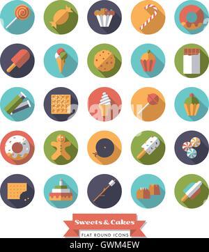 Sammlung von Süßigkeiten, Süßigkeiten, Kekse und Kuchen flache Bauweise, die langer Schatten runden Symbole - Stockfoto