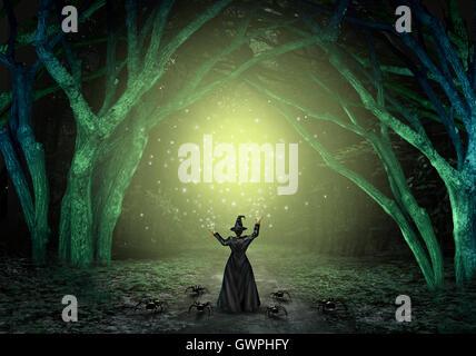 Magische Hexe magische Zauber in einem unheimlich dunkles Geheimnis Wald als böser Zauberer ein glitzerndes grünes - Stockfoto