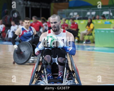 Rio De Janeiro, Brasilien. 14. September 2016. Paralympischen Spiele 2016 in Rio. Eröffnungsspiel der Rollstuhl Rugby Pool B zwischen den Vereinigten Staaten und Frankreich. Bildnachweis: PhotoAbility/Alamy Live-Nachrichten