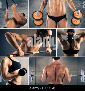 Collage-Fitness-workout - Stockfoto