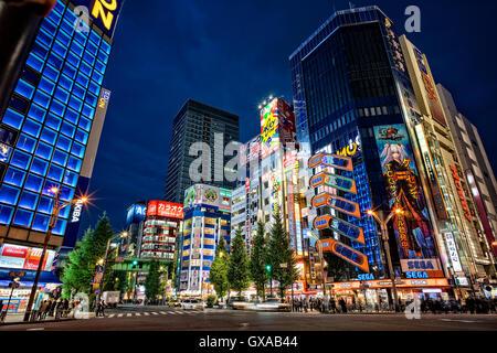 Japan, Honshu-Insel, Kanto, Tokyo, Akihabara Bezirk in der Nacht. - Stockfoto