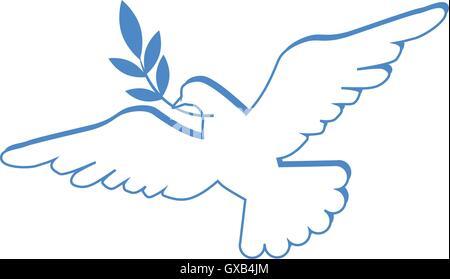 Taube mit Olivenzweig als Friedenssymbol - Stockfoto
