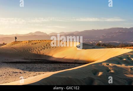 Sand-Dünen von Maspalomas. Gran Canaria, Kanarische Inseln, Spanien - Stockfoto