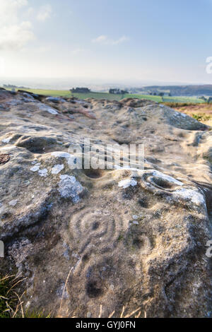 Alten prähistorischen Tasse und Ring-Markierungen auf den Felsen am Lordenshaws, Simonside oben Rothbury in Northumberland - Stockfoto
