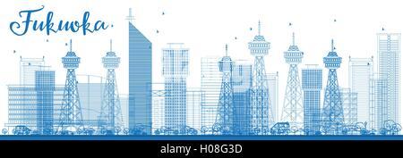 Umriss Fukuoka Skyline mit blauen Wahrzeichen. Vektor-Illustration. Geschäftsreisen und Tourismus-Konzept mit historischen - Stockfoto
