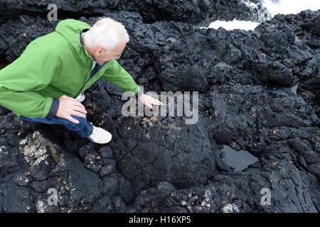 Kissen-Lava am Strumble Head unter Wasser Millionen von Jahren, als dieses Teil von Wales Volcanic wurde gebildet - Stockfoto