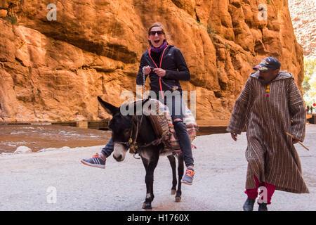 Lächelndes Mädchen reiten einen Esel in die Todra Schlucht in Afrika Dades - Stockfoto