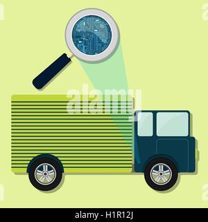 Lupe vergrößern elektronische Schaltung des Autos. Konzept Vektor ...