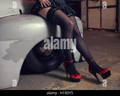 Strumpf mit high heels Stockfoto, Bild: 279089760 Alamy