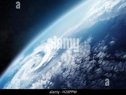 Planetenerde aus dem Weltraum hautnah mit Wolkenformationen. Illustration - keine NASA-Bilder verwendet. - Stockfoto