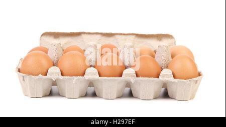 Karton Eierkarton mit zehn braunen Eiern - Stockfoto