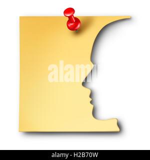 Office Worker Erinnerung als Mitarbeiter Symbol herausgeschnitten eine Geschäftsnotiz als eine Unternehmenskarriere - Stockfoto