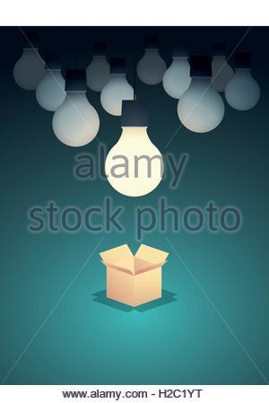 Denken Sie außerhalb der Box betriebswirtschaftliche Konzept Vektor Hintergrund mit Glühbirne. Kreativität und kreative - Stockfoto