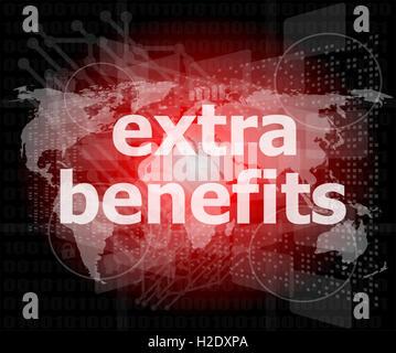 zusätzliche Vorteile Slogan Plakat Konzept. Finanzielle Unterstützung Nachricht design - Stockfoto