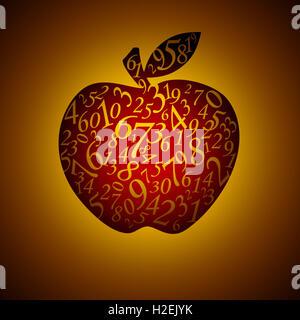 Viele Figuren in Form eines Apfels. Künstlerische dunklen Hintergrund. - Stockfoto