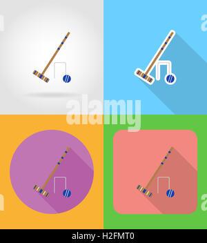 festlegen Sie Ausrüstung für Krocket flache Symbole Abbildung isoliert auf Hintergrund - Stockfoto
