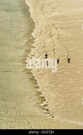 Rusheen Bay, Reiter am Sandstrand, Galway, County Clare, Irland - Stockfoto