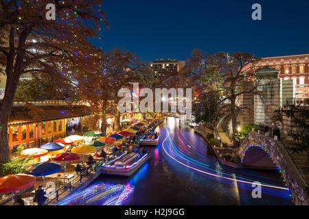 Flusspromenade in San Antonio, Texas - Stockfoto