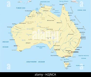 australien landkarte mit hauptstadt canberra landesgrenzen wichtige st dte fl sse und seen. Black Bedroom Furniture Sets. Home Design Ideas