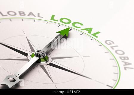 3D Abbildung eines Kompasses mit Nadel zeigt das Wort lokales Geschäft. Konzept einer ethischen Wirtschaft - Stockfoto