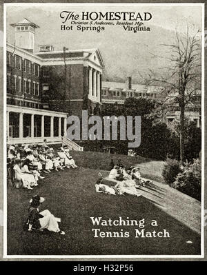 1920-Anzeige aus original alten Vintage American Magazin 1920er Jahre Werbung Werbung The Homestead Hotel of Hot - Stockfoto