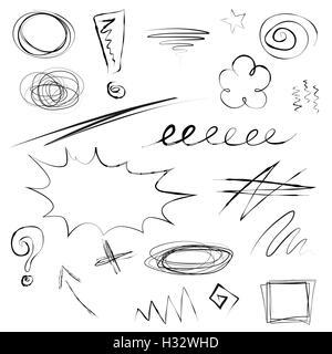 Satz von Kritzeleien, skizzenhaften hand gezeichnete Bilder, Pfeil, Zeichen, betont, Schleifen, Wirbel, Marken, - Stockfoto