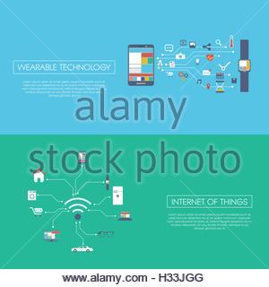 Internet der Dinge-Konzept-Vektor-Illustration mit Symbolen für intelligente Geräte im Haushalt, Technik, Kommunikation. - Stockfoto