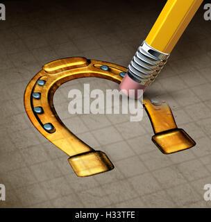 Glück Verlust Konzept und Unglück Symbol wie ein Radiergummi Löschen einer glücklichen Hufeisen-Symbol als Metapher - Stockfoto