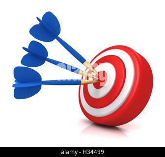 Bullseye Ziel Konzept 3d illustration - Stockfoto