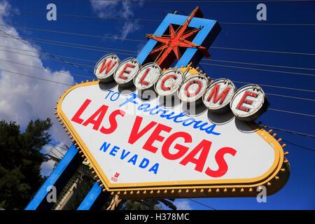 """""""Welcome to Fabulous Las Vegas Nevada"""" Zeichen in Las Vegas Boulevard South.Las Las Vegas, Nevada, USA - Stockfoto"""