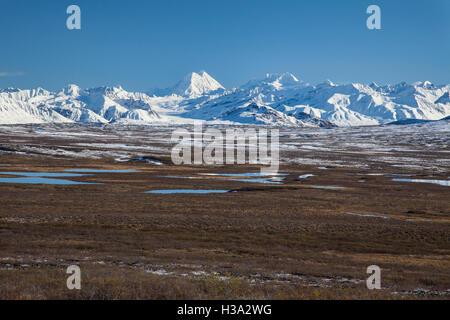 Die Alaska-Reihe von Bergen und Tundra auf dem Denali Highway in der Nähe von Paxson, Alaska. - Stockfoto