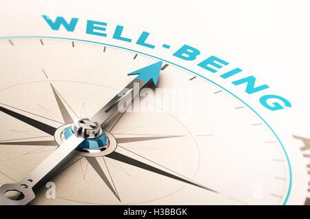 Kompass mit Nadel zeigt das Wort Wohlbefinden. 3D Illustration mit Unschärfe-Effekt. Konzept des Wohlbefindens oder - Stockfoto